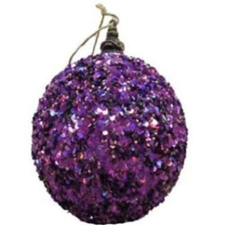 80mm Purple Glimmer Bauble Christmas Tree Decoration