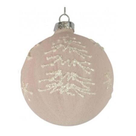 80mm Pink Glitter Glass Bauble Christmas Tree Decoration 2