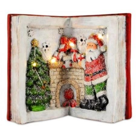 LED Light Up Santa with Christmas Tree and Fireplace Ceramic Book Christmas Decoration