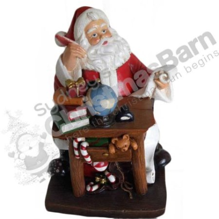 Ceramic Santa Sitting at his Workbench Christmas Decoration