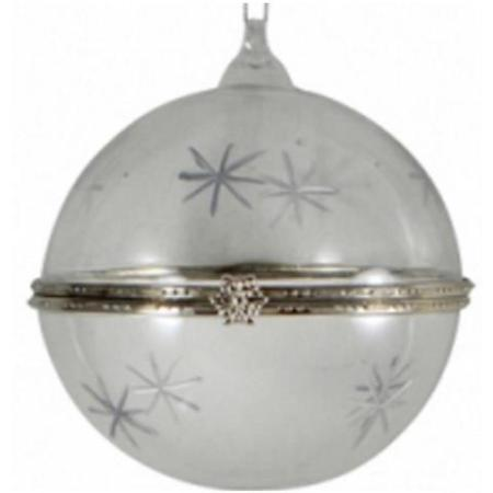 80mm Round Glass Gift Bauble with Clasp Christmas Tree Decoration