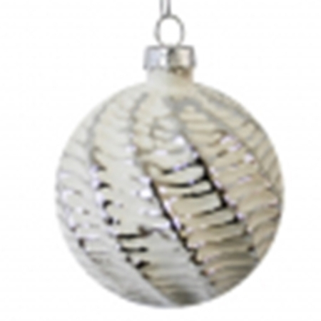 80mm Matt White Embossed Glass Christmas Tree Decoration Bauble B