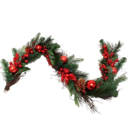180cm Classic Red Ball Berry and Pine Cone Christmas Garland