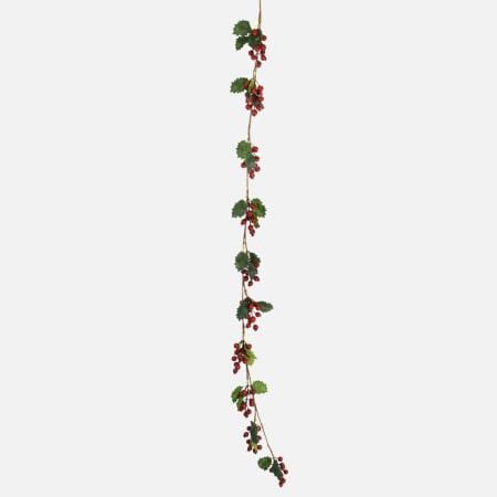 160cm Red Holly Berry and Green Leaf Christmas Garland