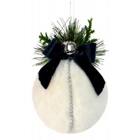 13cm Fluffy White Fabric Hanging Christmas Ball Decoration with Blue Ribbon