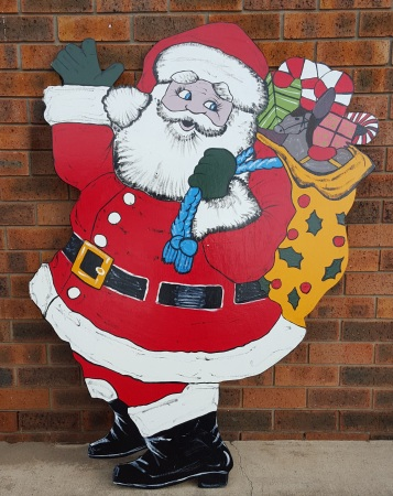 Santa Claus with Giftbag Christmas Timber Cut out Decorations