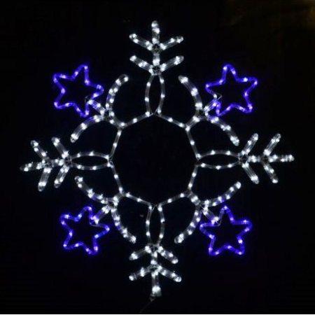 Snowflake Christmas Lights.80cm Led Blue And White Rope Light Snowflake With Stars Christmas Light Silhouette
