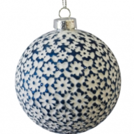80mm Matt White with Blue Flower Glass Christmas Tree Decoration Bauble