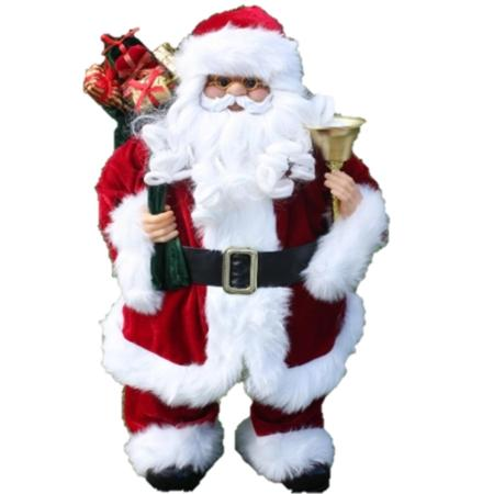 60cm Standing Traditional Santa with Gift bag and Bell Christmas Decoration