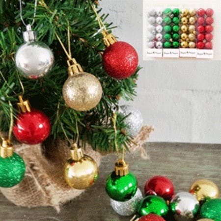 Packet of 12 30mm Plastic Christmas Bauble Tree Decorations