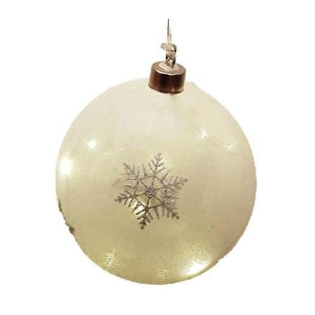 120mm Battery Operated Light Up White Star Glitter Glass Bauble Christmas Tree Decoration