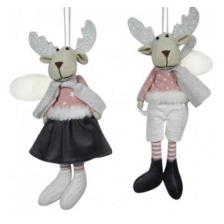24cm Pink and Grey Fabric Hanging Deer Christmas Decoration 2 Assorted