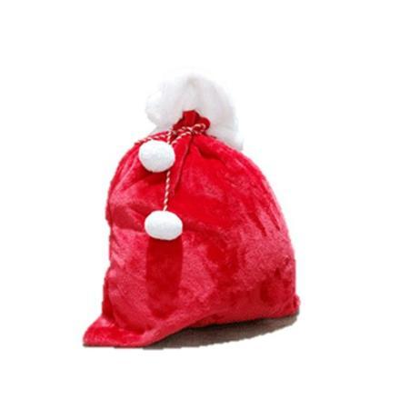 Deluxe Red Plush Santa Sack Christmas Decoration