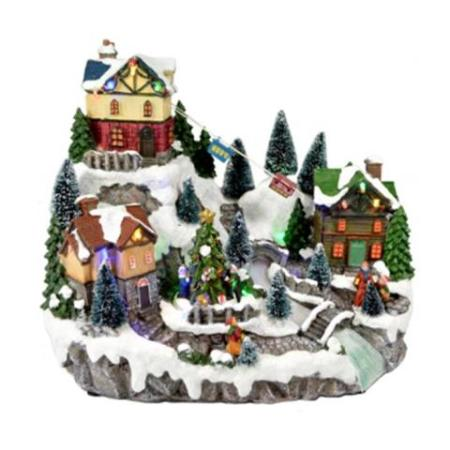 LED Light Up Christmas Village With Cable Cars Christmas Decoration