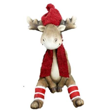 40cm Terracotta Sitting Reindeer Christmas Decoration