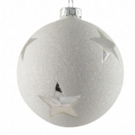 60mm Glass White Glitter Bauble with Silver Star Christmas Tree Decoration