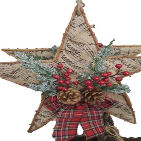 Star with Berries, Pine cones and Bow Wall hanger Christmas Decoration