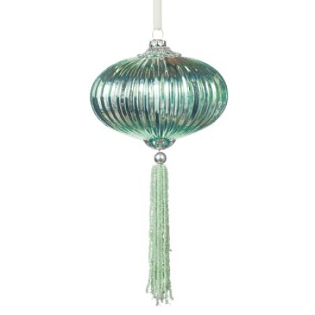 100mm Pastel Mint Lantern Glass Bauble Christmas Tree Decoration