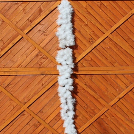 270cm White Needle Christmas Garland with Silver Tip