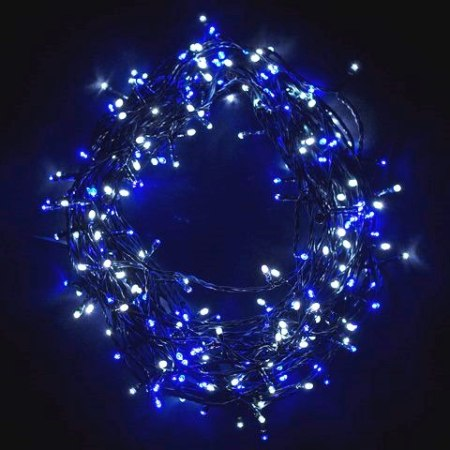 500 LED Blue & White LED Fairy Lights on Clear Cable 45 metres