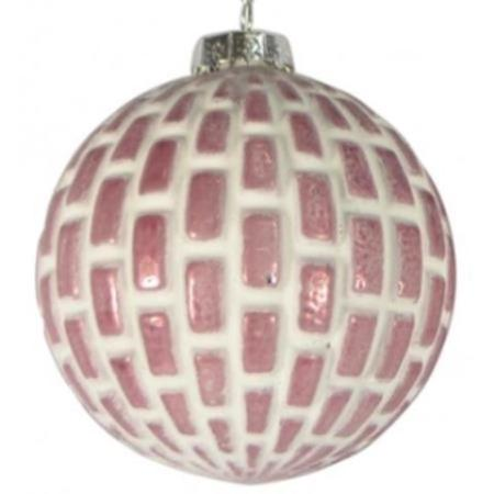 80mm Matt Rose Pink and White Geometric Glass Bauble Christmas Tree Decoration 1