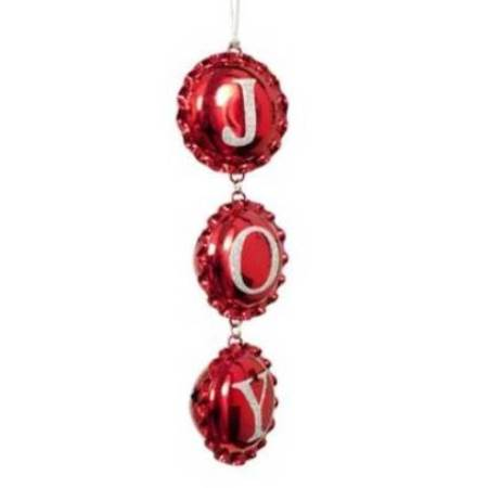 200mm Hanging Metal Red Joy  Christmas Tree Decoration Ornament