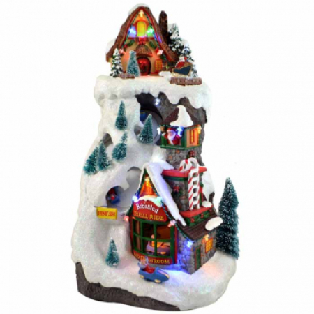 Led Poly resin Toboggan Mountain Scene Christmas decoration with Lights