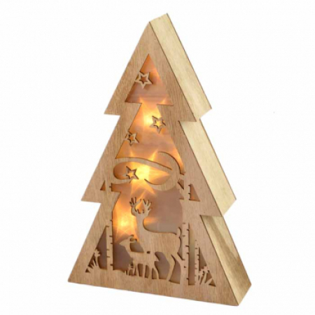 LED Timber 3 Tier Tree Christmas Decoration with Lights