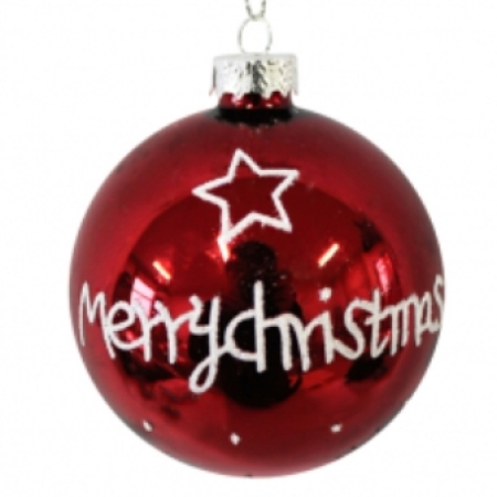 80mm Red Merry Christmas Glass Bauble Christmas Tree Decoration