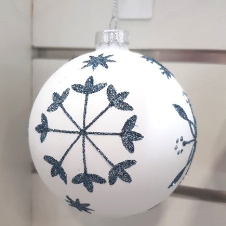 80mm Matt White and Blue Snowflake Glass Bauble Christmas Tree Decoration