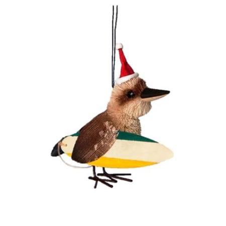 7cm Kookaburra with Surf Board wearing Christmas Hat Hanging Christmas Tree Ornament