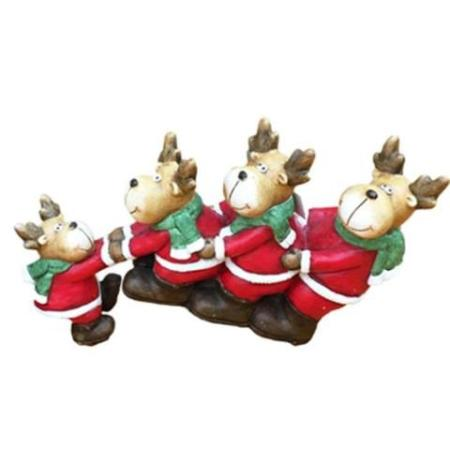 38cm 4 Pulling Reindeer Christmas Decoration