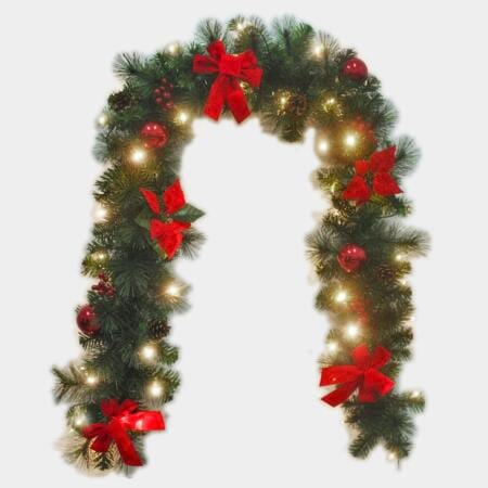 200cm Pre-decorated Green Pine Needle Garland 150 Tips with 30 led Battery Operated Lights