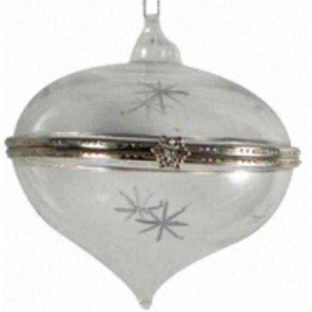 80mm Teardrop Glass Gift Bauble with Clasp Christmas Tree Decoration