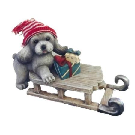 Ceramic Grey Christmas Dog on Sleigh Christmas Decoration