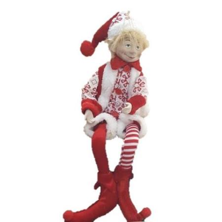 Plush 45cm Red and White Elf Christmas Decoration