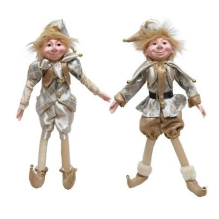 Plush 66cm Champagne Gold and Silver Elf Christmas Decoration New for 2018