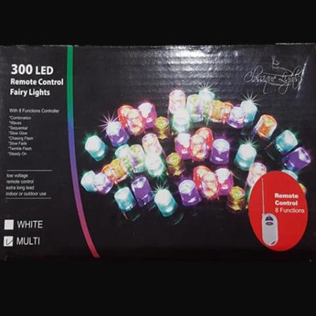 300 LED Multi Colour Fairy lights 14.95m Green Wire w/remote On Sale