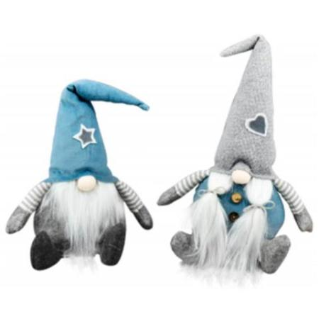 22cm Blue and Grey Fabric Sitting Gnome Christmas Decoration 2 assorted
