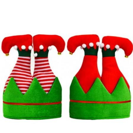 Upside down Red and Green Elf Christmas Hat with Legs