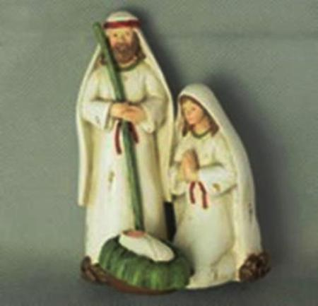 12cm Holy Family Nativity Scene White