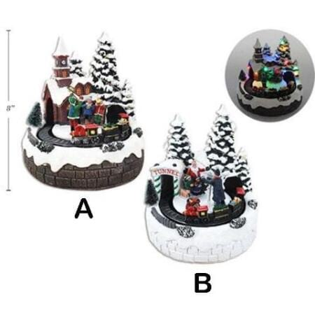 LED Light Up Christmas Village With Christmas Photo Scene and Train Christmas Decoration
