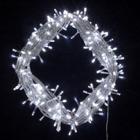 600 LED Wedding Fairy Lights White on Clear Cable 55 metres