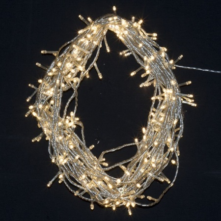 600 Warm White LED Fairy Lights on clear Wire 55 metres