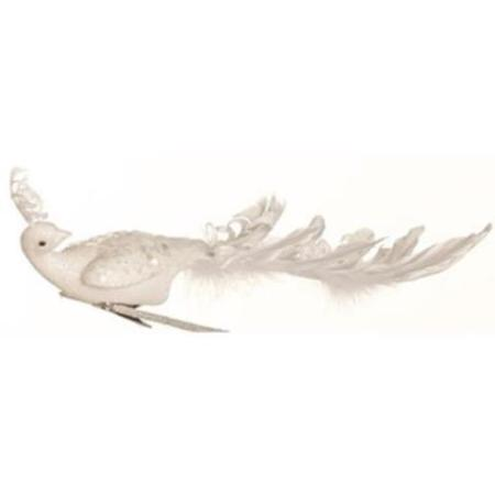 28cm All White Peacock Bird with Clip Christmas Tree Decoration