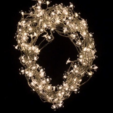 200 Warm White LED Cherry Blossom Fairy Lights on Clear Wire 20 metres