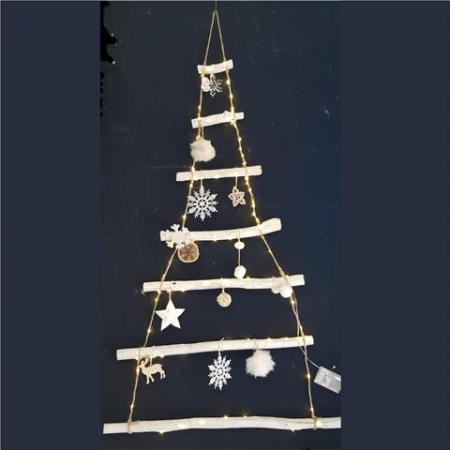 Hanging White Driftwood Wall Christmas Tree