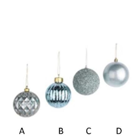 80mm Mint Green Plastic Bauble Christmas Tree Decoration 4 Assorted