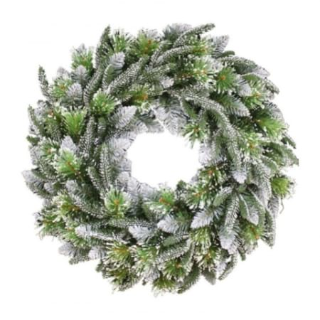 Christmas Garlands.60cm Frosted Pine Christmas Wreath