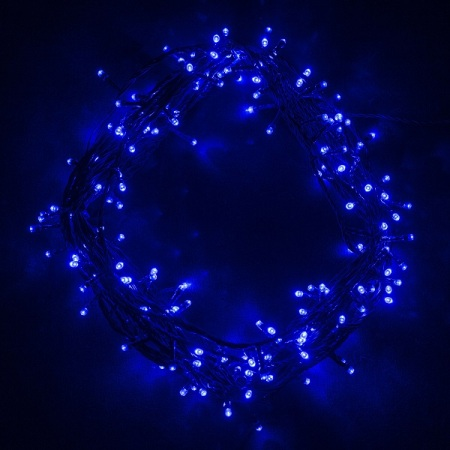 200 Blue LED Fairy Lights on Green Wire 14 metres